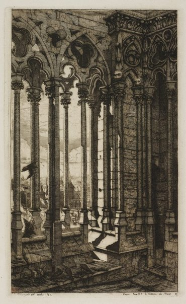 An image of The gallery of Notre-Dame by Charles Meryon