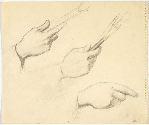 An image of recto: Two studies of a hand holding a brush verso: Three hand studies ( two with brush) by Lloyd Rees