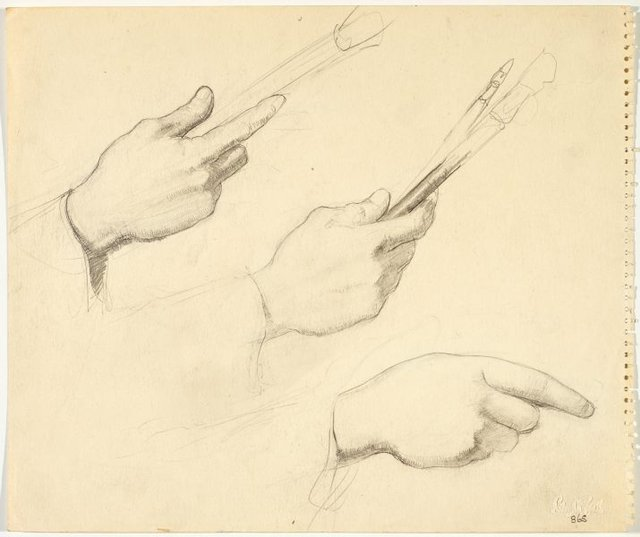 An image of recto: Two studies of a hand holding a brush verso: Three hand studies ( two with brush)