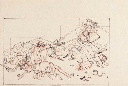 An image of (Confrontation with the murderer) by Tsukioka Yoshitoshi