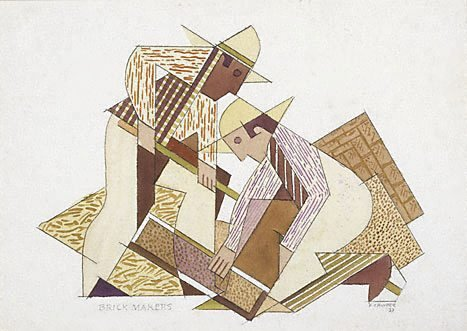 An image of Brick Makers, Taos by Frank Hinder