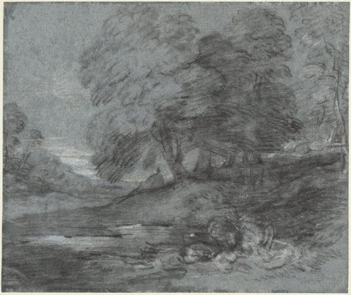 An image of A wooded landscape with a figure seated by a pool by Thomas Gainsborough