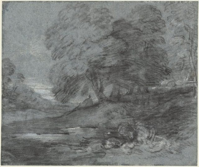 An image of A wooded landscape with a figure seated by a pool