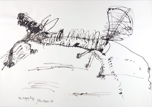 An image of The happy dog by John Olsen