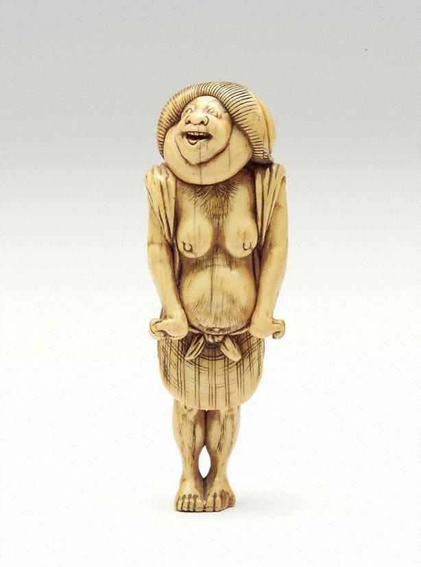 An image of Netsuke in the form of 'Kumosuke' (Tôkaidô porter)