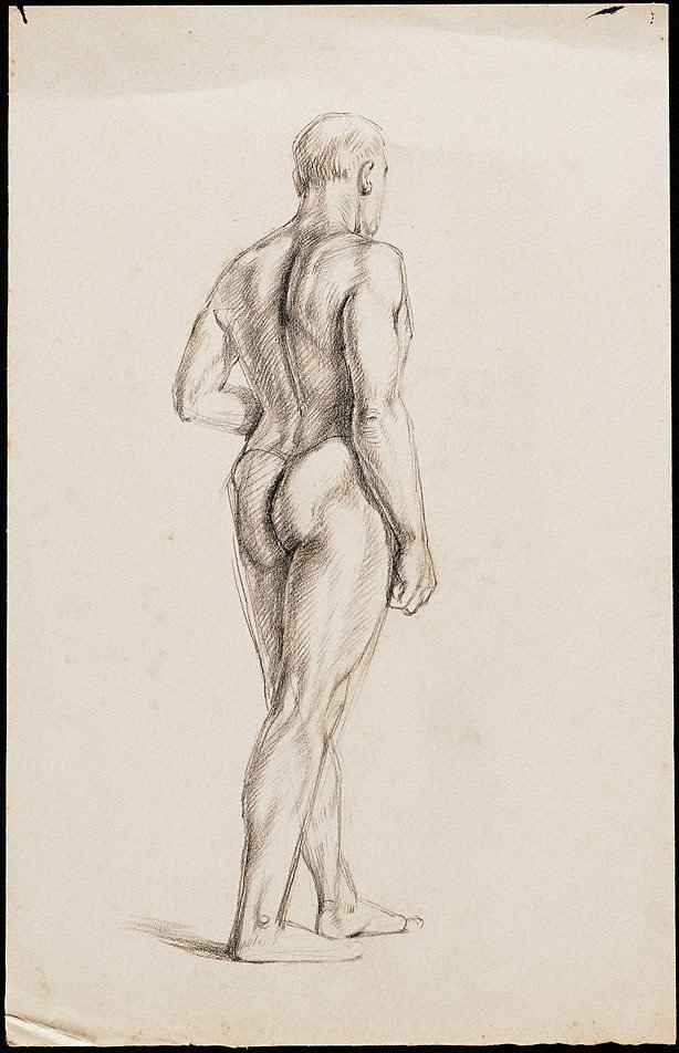 An image of Standing male nude viewed from behind, London