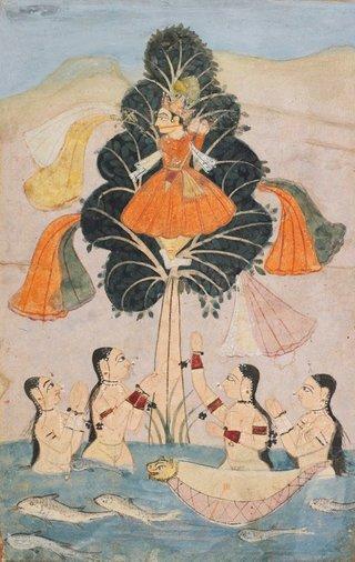 AGNSW collection The bathing cowherds (gopis) implore Krishna to return their clothes (Cira Harana lila) from a dispersed manuscript of the Bhagavata Purana circa 1650