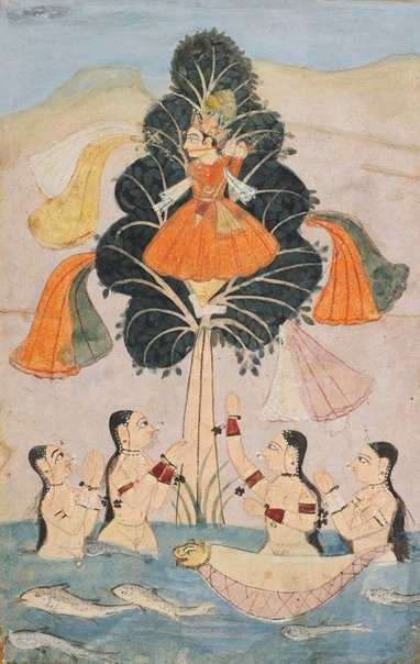 An image of The bathing cowherds (gopis) implore Krishna to return their clothes (Cira Harana lila) from a dispersed manuscript of the Bhagavata Purana by