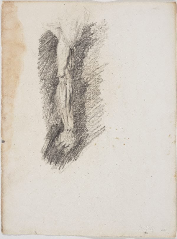 An image of recto: Study of a man's arm verso: Pan, from plaster cast