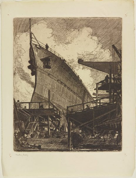 An image of The building of HMAS Adelaide (The bows) by Sydney Ure Smith