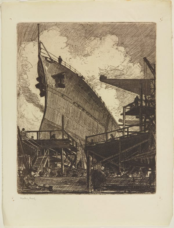 An image of The building of HMAS Adelaide (The bows)