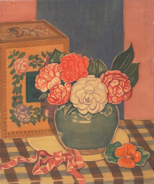 An image of (Flowers in a green vase with red ribbon)
