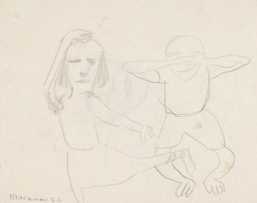 An image of Recto: (Dancing figures) Verso: (Study of a head) by Charles Blackman