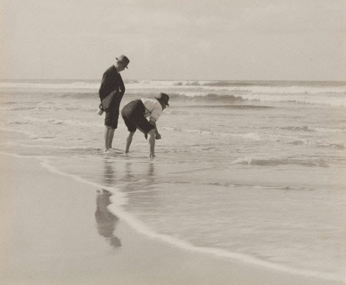 An image of Untitled (Two men on beach) by James S Stening