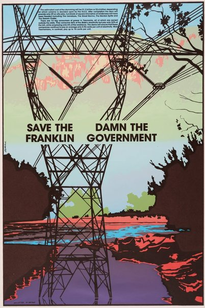 An image of Save the Franklin. Damn the government by Redletter Press, Bob Clutterbuck