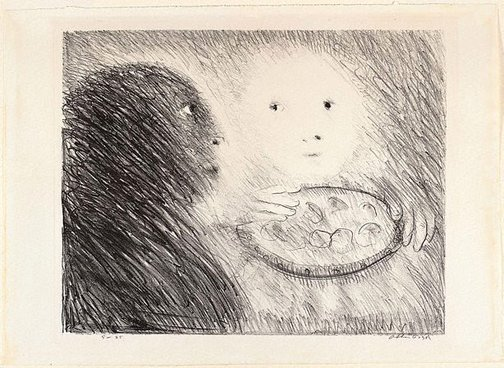 An image of Jacopa of Settesoli and the dish of Mostaccioli by Arthur Boyd