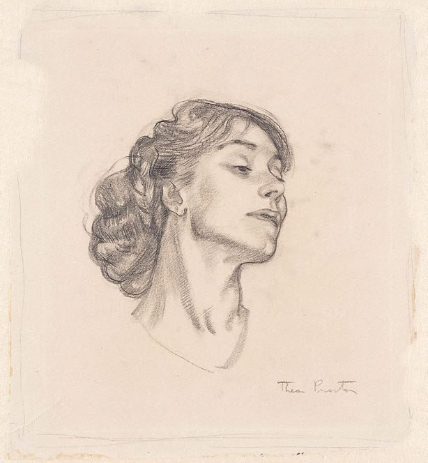 An image of (Woman's head, profile)