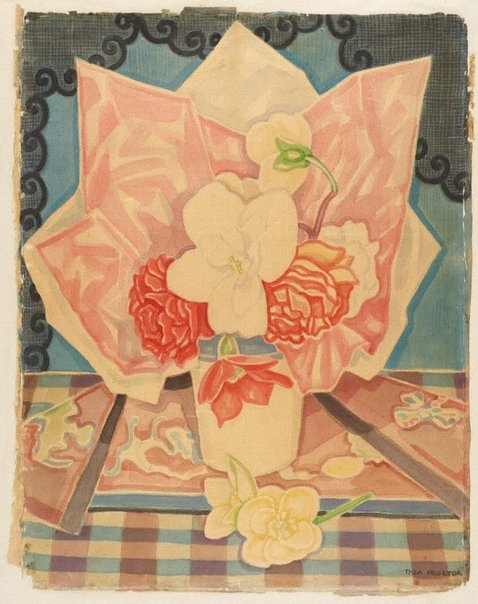 An image of (Still life with flowers in a vase, on checked tablecloth) by Thea Proctor