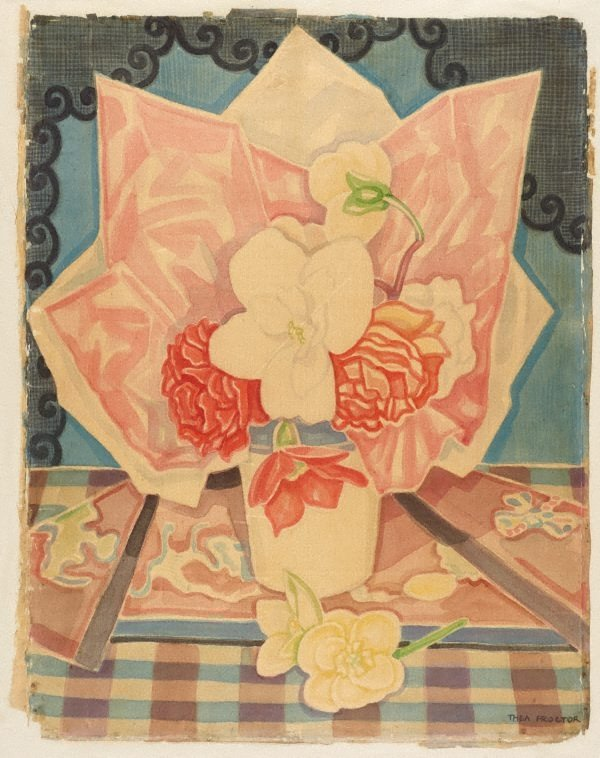 An image of (Still life with flowers in a vase, on checked tablecloth)