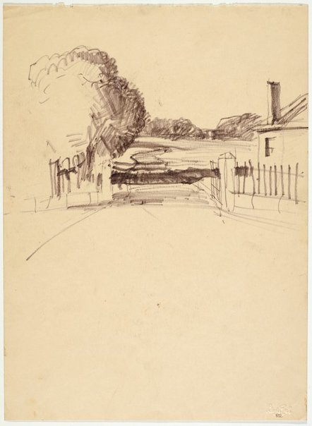 An image of Roadway with entrance gates and house by Lloyd Rees