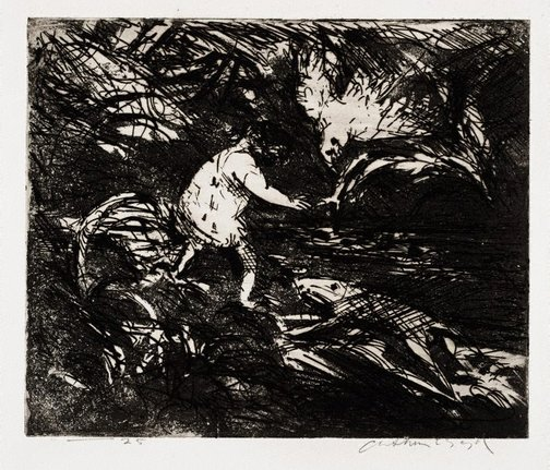 An image of Figure crossing a river by Arthur Boyd