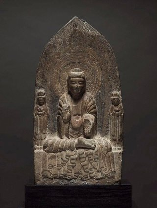 AGNSW collection Stele of a Buddha flanked by two bodhisattvas (6th century) 314.2006