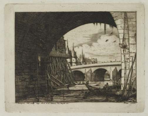 An image of An arch of the Notre-Dame bridge, Paris by Charles Meryon