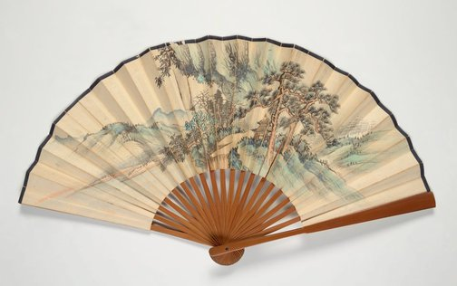 An image of Folding fan with landscape painting and poem in seal script by LU Zhanyuan, Unknown