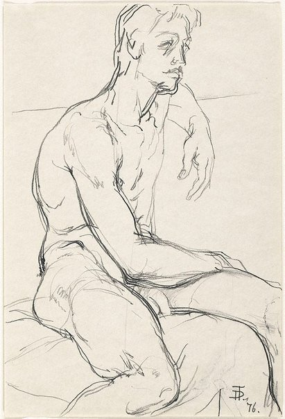 An image of Seated male nude by Dorothy Thornhill