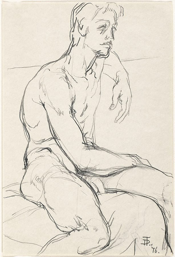 An image of Seated male nude