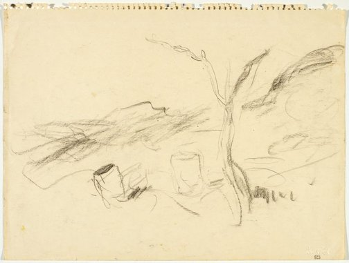 An image of Sketch of landscape with petrol drums by Lloyd Rees