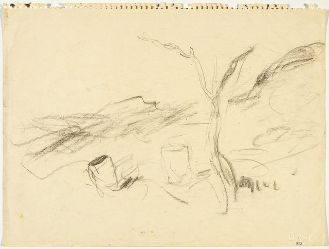 An image of Sketch of landscape with petrol drums
