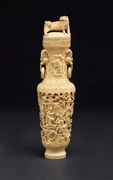 An image of Vase with incised narrative scene by