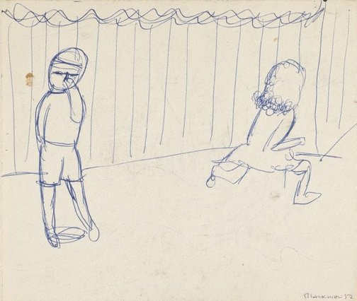 An image of Recto: (Two figures by a fence) Verso: (Figure with hands over mouth) by Charles Blackman