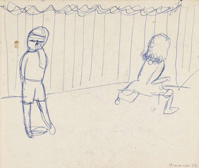 An image of Recto: (Two figures by a fence) Verso: (Figure with hands over mouth)