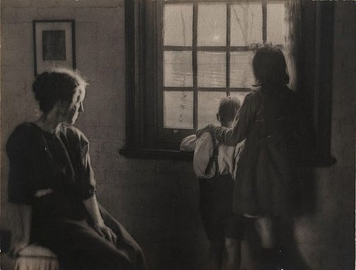 An image of Untitled (children at window) by Alfred Chambers