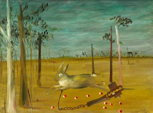 An image of Hare in trap by Sidney Nolan