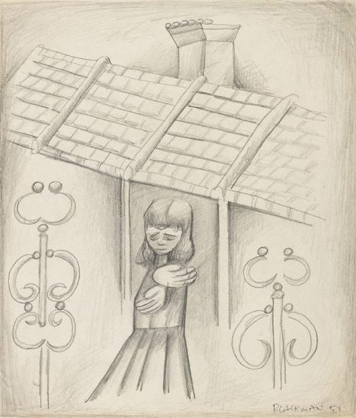 An image of (Schoolgirl in street with terraced houses) by Charles Blackman