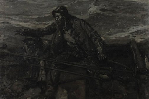 An image of The boatswain (Drawing for illustration) by Sir Frank Brangwyn