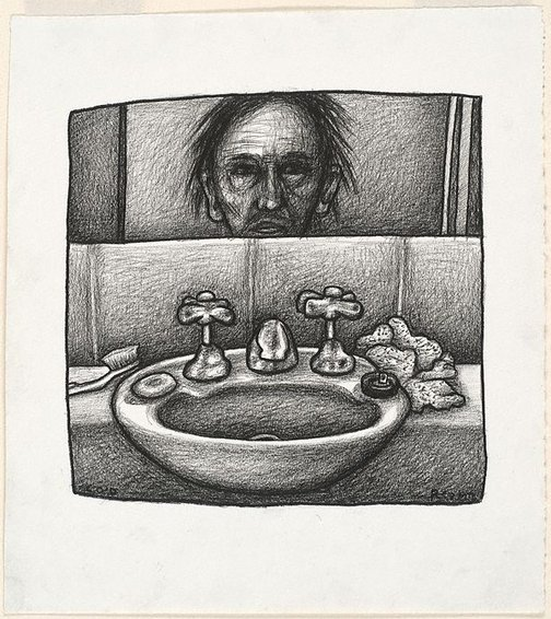 An image of Self portrait with sink by Chris O'Doherty