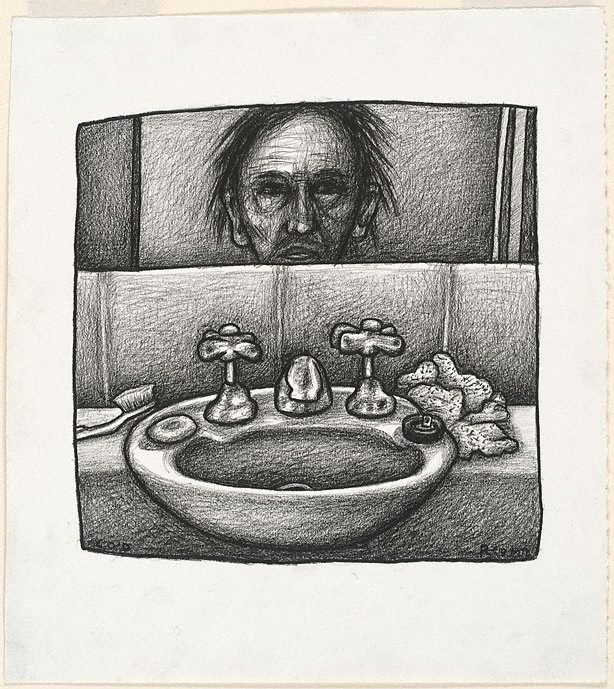 An image of Self portrait with sink