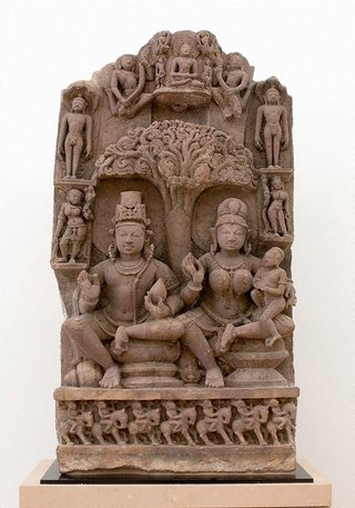 AGNSW collection Stele with 'yaksha-yakshini' couple and Jinas 10th century