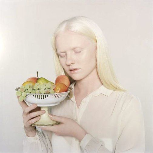 An image of Lauren with fruit by Petrina Hicks