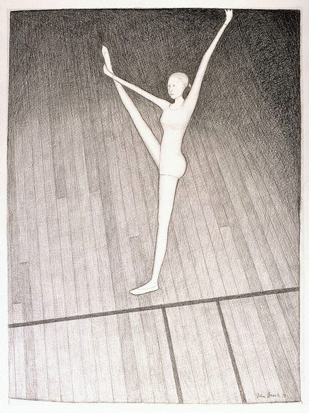 An image of One balancing girl by John Brack