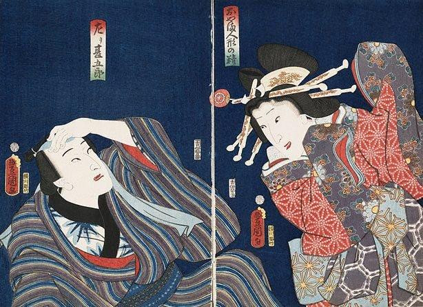 An image of Actors in the roles of Hidari Jingorô and a doll's spirit