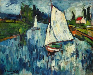AGNSW collection Maurice de Vlaminck Sailing boats at Chatou (1906) 320.2006