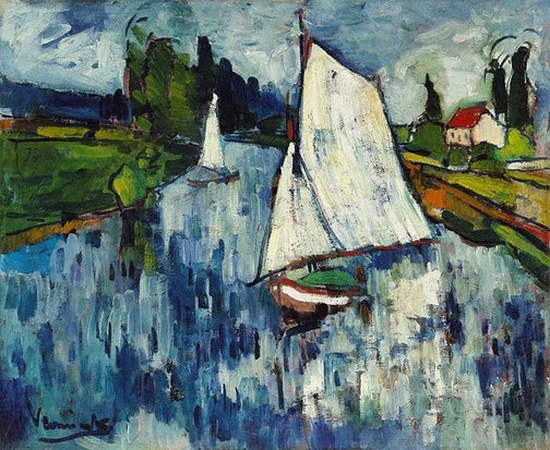 An image of Sailing boats at Chatou by Maurice de Vlaminck