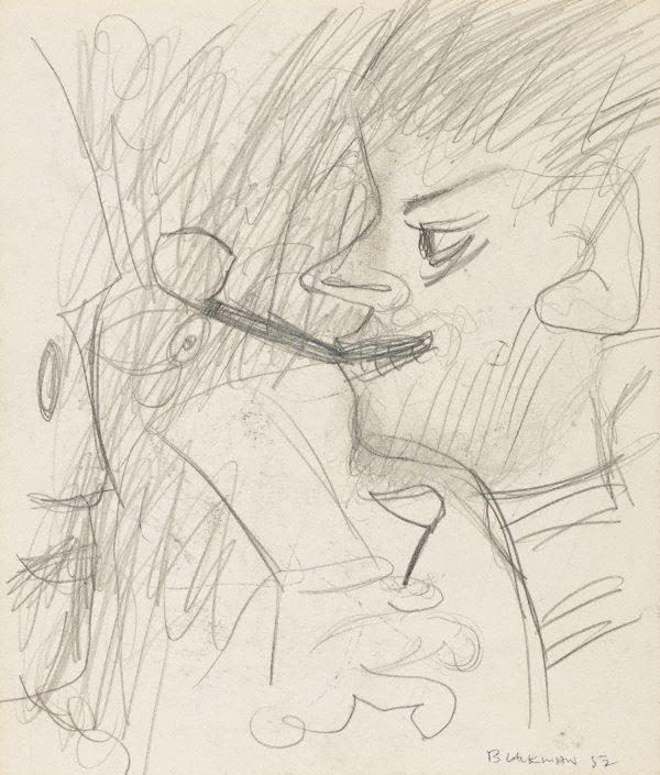 An image of recto: (Smoking figure) verso: (Study of a head)