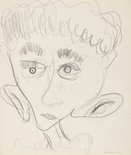 Alternate image of recto: (Smoking figure) verso: (Study of a head) by Charles Blackman