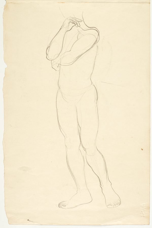 An image of recto: Country landscape with tree verso: Standing male nude and portrait of the model; Standing male nude